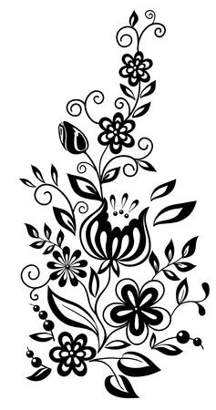 Noir et blanc des fleurs et des feuilles. Élément de design floral dans le style rétro Banque d'images - 17833416