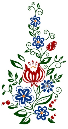 outline flower: Beautiful floral element. flowers and leaves design element
