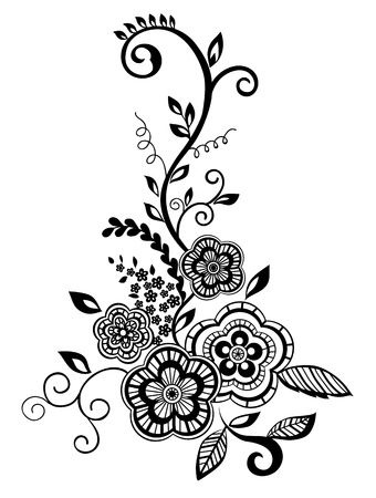 vines: Beautiful floral element. Black-and-white flowers and leaves design element with imitation guipure embroidery.