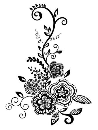 bordados: Elemento floral hermoso. Negro y blanco flores y hojas de elementos de diseño con bordados imitación guipur.