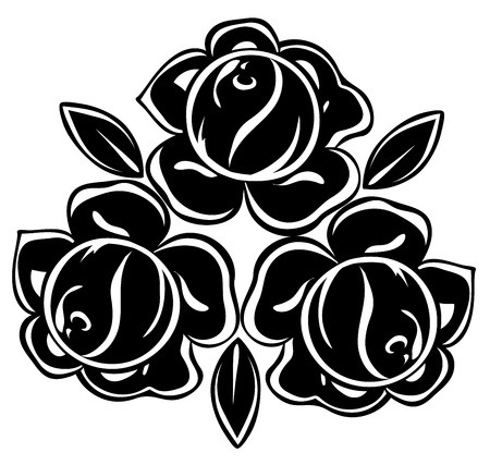 isolated illustration of black and white roses
