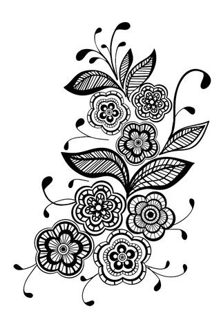 tatouage fleur: beau noir et blanc floral design pattern Illustration