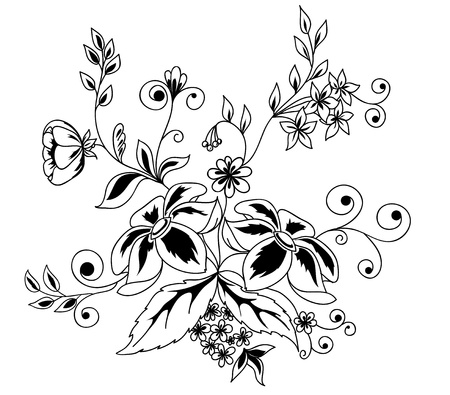 outline flower: Beautiful floral element. Black-and-white flowers and leaves design element with imitation guipure embroidery.