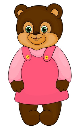 little girl bear, cartoon, isolated on white Vector