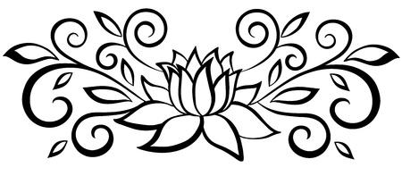 dessin fleur Belle fleur abstraite noire et blanche. Avec des feuilles et des ornements
