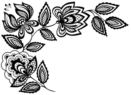 embroidery flower: Black and white lace flowers and leaves isolated on white. Many similarities to the authors profile