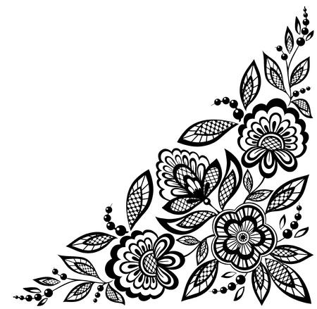 Fleurs en dentelle coin ornementales sont décorées en noir et blanc. De nombreuses similitudes avec le profil de l'auteur Banque d'images - 18120346