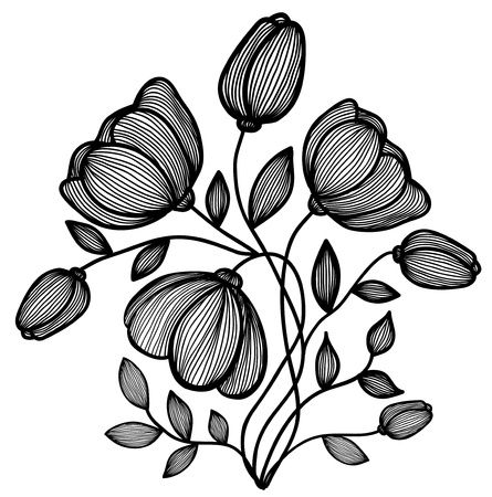 beautiful abstract black-and-white flower of the lines. Single isolated on white. Many similarities to the authors profile Vector