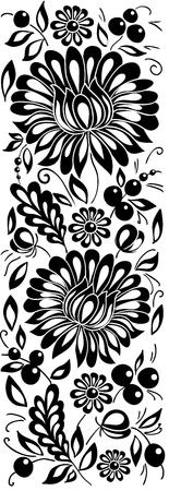 black pattern: black-and-white flowers and leaves. Floral design element in retro style