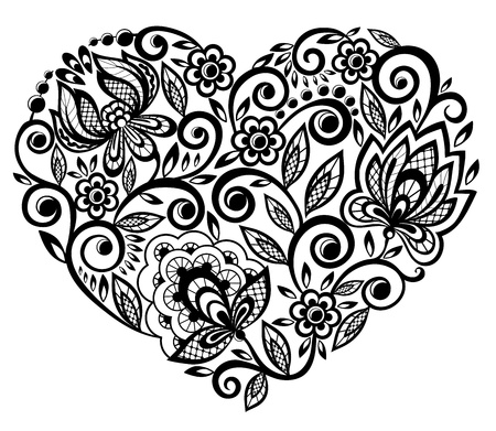 valentine s card: beautiful silhouette of the heart of lace flowers