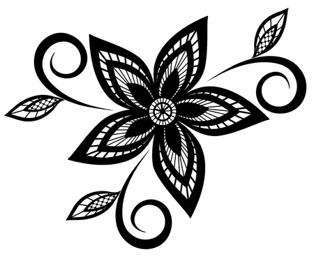 craft ornament: black and white floral pattern design element