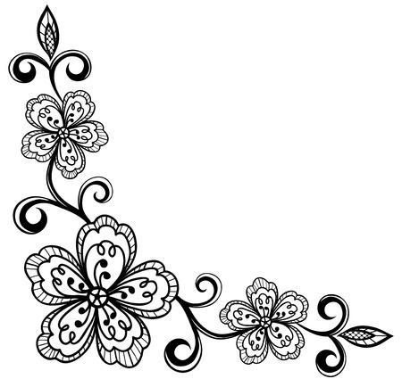 floral corner:  corner ornamental lace flowers  black and white