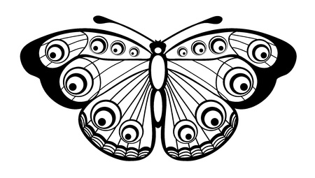 swallowtail butterfly: Beautiful black and white butterfly isolated on white
