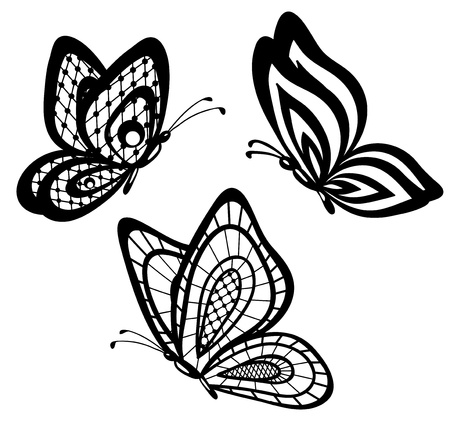 bead embroidery:  set of beautiful black and white guipure lace butterflies