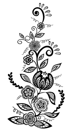 henna design:  Black-and-white flowers and leaves design element