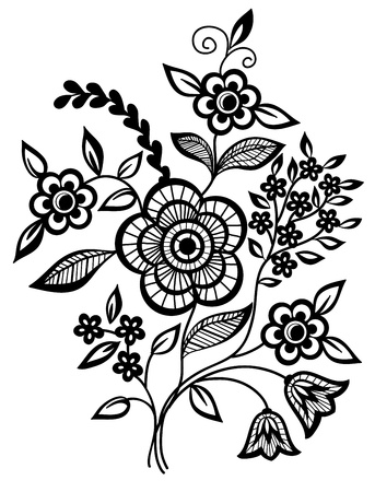 black lace:  Black-and-white flowers and leaves design element