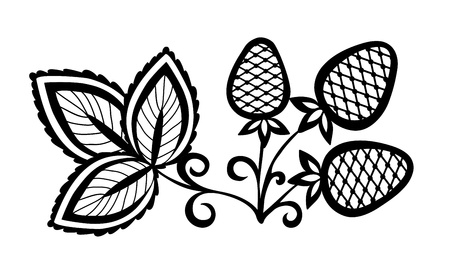 black and white plant:  black and white abstract strawberry, flower with leaves and swirls isolated on white background
