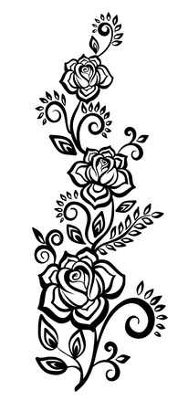 painted lines:  black-and-white flowers and leaves  Floral design element Illustration