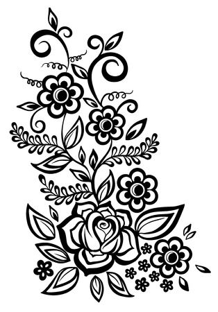 Black-and-white flowers and leaves design element Ilustração