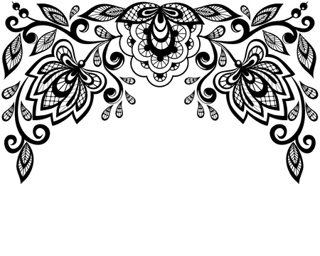 corner border:  Black and white lace flowers and leaves isolated on white