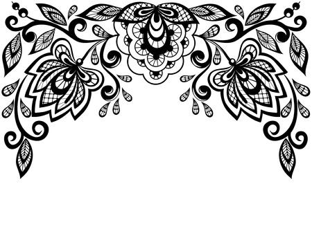 broderie: Fleurs en dentelle noir et blanc et de feuilles isol�es sur fond blanc