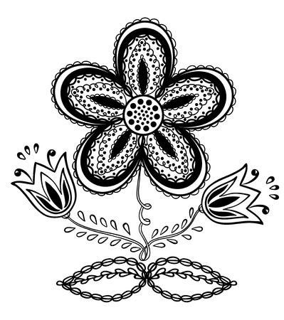 Beautiful black-and-white flower, hand drawing Stock Vector - 18276272