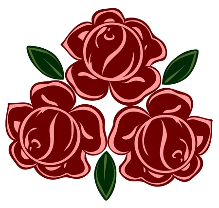 isolated illustration of retro roses Vector