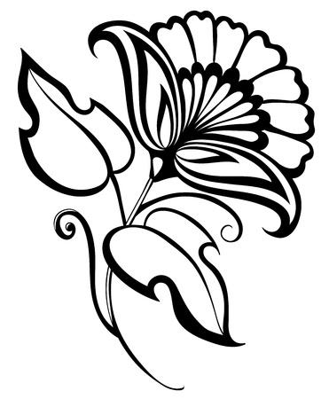 Beau noir et fleur blanche, dessin à la main, élément, conception florale dans le style rétro Banque d'images - 18333294
