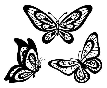 tattoo butterfly: serie di belle farfalle guipure di pizzo bianco e nero, molte somiglianze con il profilo dell'autore s