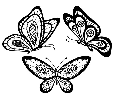 bead embroidery: set of beautiful black and white guipure lace butterflies Illustration