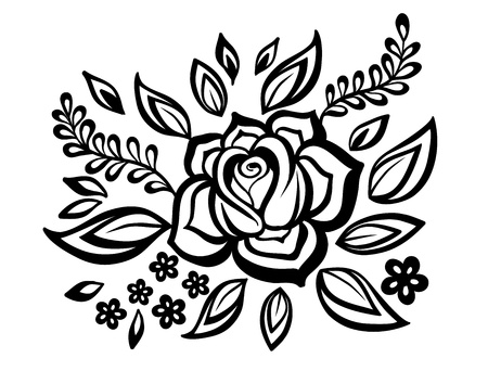 Beautiful floral element. Black-and-white flowers and leaves design element with imitation guipure embroidery. Vector