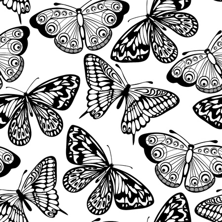 Beautiful seamless background of butterflies black and white colors Ilustração