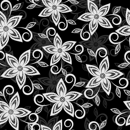 Beautiful black and white floral background. lace flowers embroidered cutwork Stock Vector - 18567937
