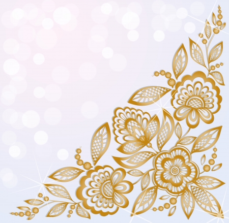 background decorated with beautiful carved corner gold flowers Ilustracja