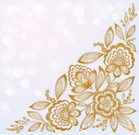 esquineros de flores: fondo decorado con hermosas flores talladas esquina de oro Vectores