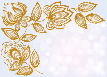 beautiful background bokeh highlights and decorated with carved floral pattern Vector