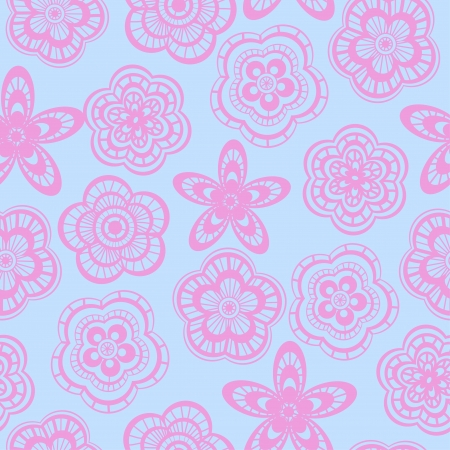 Seamless background pattern of pink lace flowers Stock Vector - 18567958