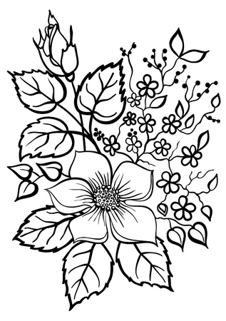 beautiful flower arrangement, a black outline on a white background Vector