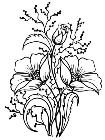 isolado no branco: Arranjo de flores em preto e branco. Esboço de desenho de linhas