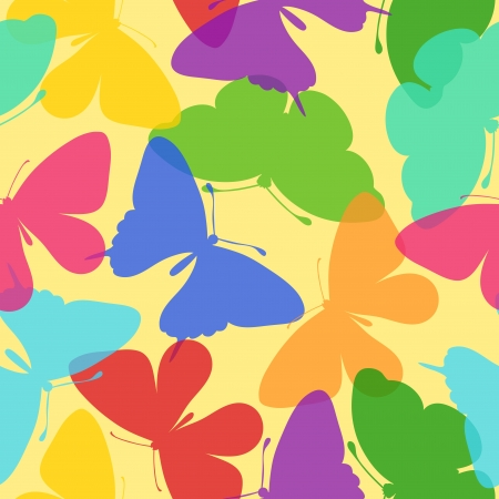 butterflies flying: Seamless bright background of butterflies. Many similarities to the authors profile
