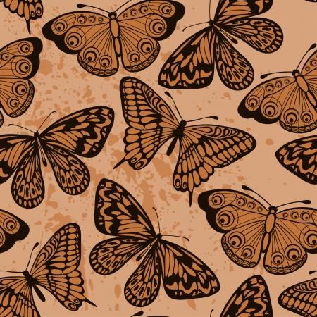 Schöne nahtlose Hintergrund Schmetterlinge auf alte schmutzige Papier Vintage-Stil viele Ähnlichkeiten mit dem Autor Vektorgrafik
