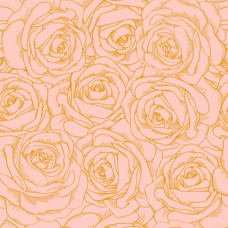 Beautiful seamless background of pink roses with a gold outline in vintage style  Many similarities to the author Stock Vector - 19242484