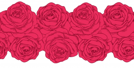 seamless horizontal frame element of roses with outline  Many similarities to the author Stock Vector - 19242473