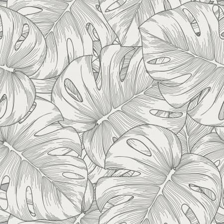 monstera: seamless background  leaves monster with outline Illustration