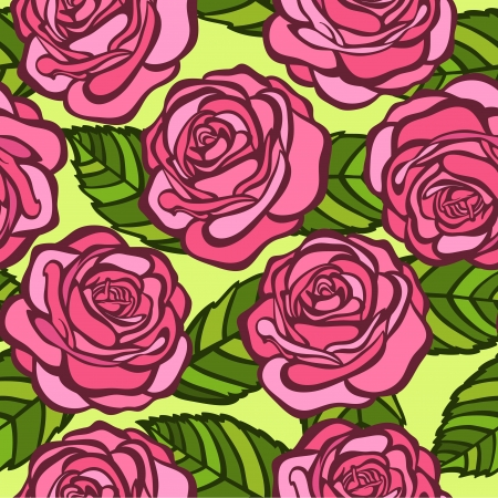 seamless background  Pink roses with green leaves in the old style  Many similarities to the author Stock Vector - 19242455
