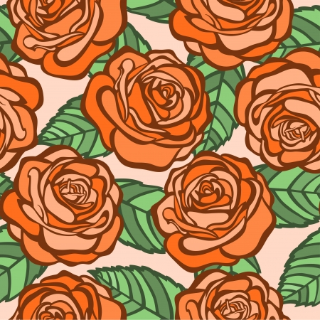 seamless background  orange roses with green leaves in the old style  Many similarities to the author Stock Vector - 19242452