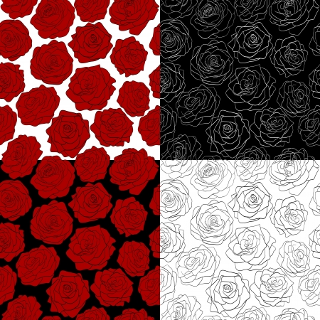 a set of seamless backgrounds  The outline of a rose, red, black and white colors  Many similarities to the author Vector