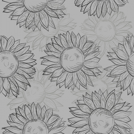 cute seamless pattern with sunflowers  Abstract gray, black and white  Many similarities to the author Vector