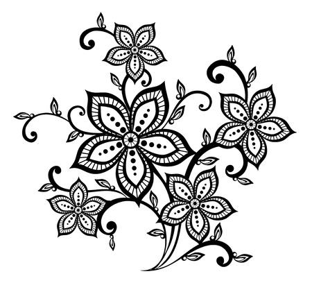 dessin fleurs: bel élément de design motif floral noir et blanc. De nombreuses similitudes avec le profil de l'auteur