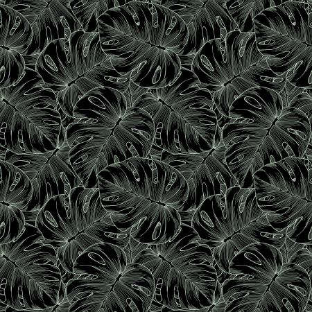 monochrome, black and white seamless background. Monstera leaves of palm trees. Many similarities in the profile of the artist Vector